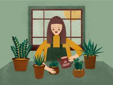 Girl with plants. home flower illustration go green girl plant flowers illustrator illustrations flat illustration design vector art vector illustration
