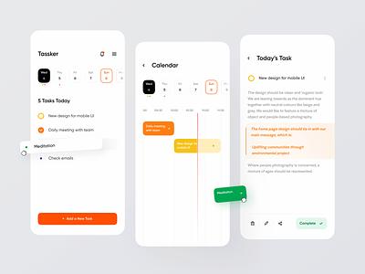 Tassker task list schedule task manager task todo list to do todoist todo clean design ui app mobile minimalistic clean ui