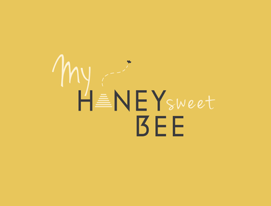 Honey Bee illustration vector typography design