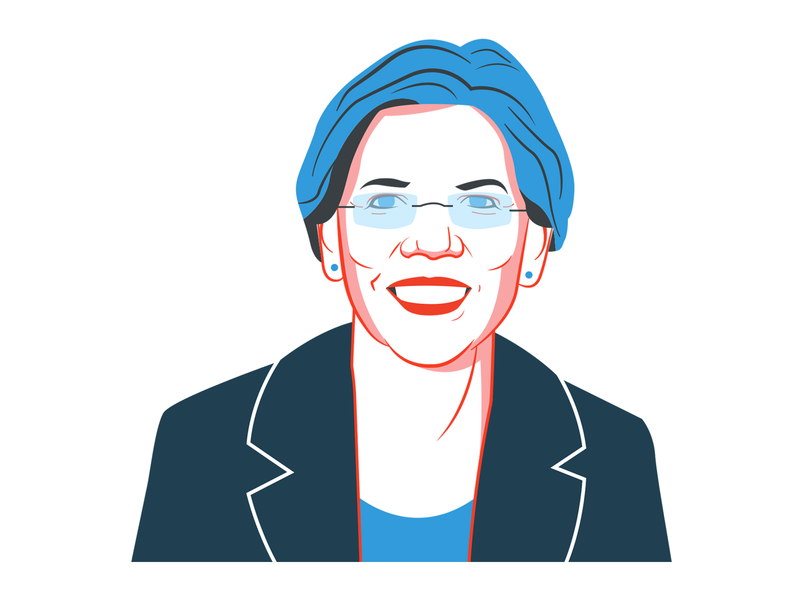 Elizabeth Warren for NPR elizabeth warren usa portrait politician political npr election design branding illustration america
