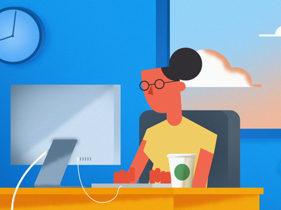 Office Work debut shot woman character design time coffee worker office motion after effects animation design branding illustration