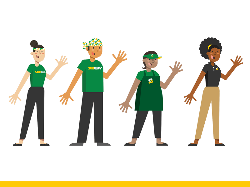 Character iIlustrations for Subway animation family worker food subway people characters vector illustration branding design