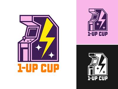 1-Up Cup Logo pop culture geek nerd gaming video games videogames video game videogame youtube arcade vector logo identity illustration branding design