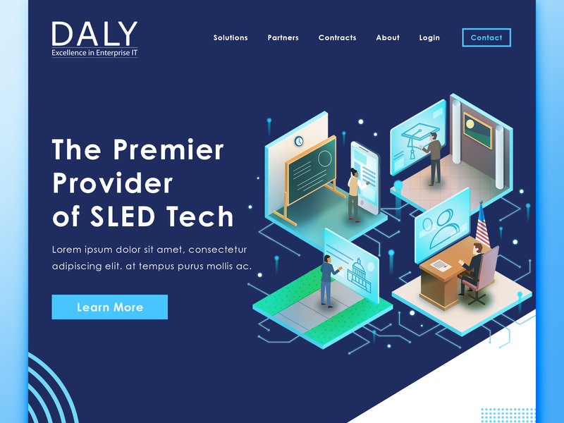 Daly Website Design and Illustrations ux interface clean isometric technology tech website web design identity illustration branding design