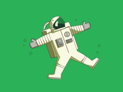 Planet Money identity branding illustration npr nasa money floating stars character space spaceman astronaut