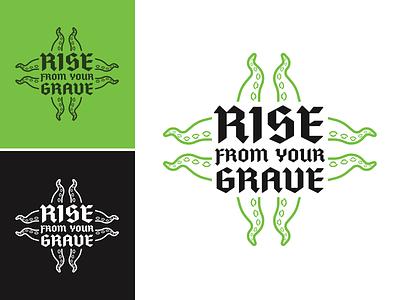 Rise From Your Grave kraken octopus tentacle horror punk metal band music typogaphy logo identity illustration design branding
