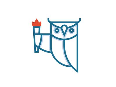 Owl wisdom education torch roman greek owl logo identity design branding illustration