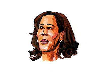 Kamala Harris portrait kamala harris democracy democrat usa vice president government political election america illustration