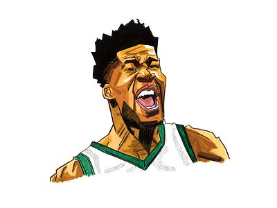 Giannis nba milwaukee bucks athlete sports basketball portrait illustration giannis antetokounmpo