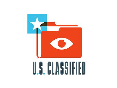 U.S. Classified folder classified secret usa government political america logo election identity design branding illustration