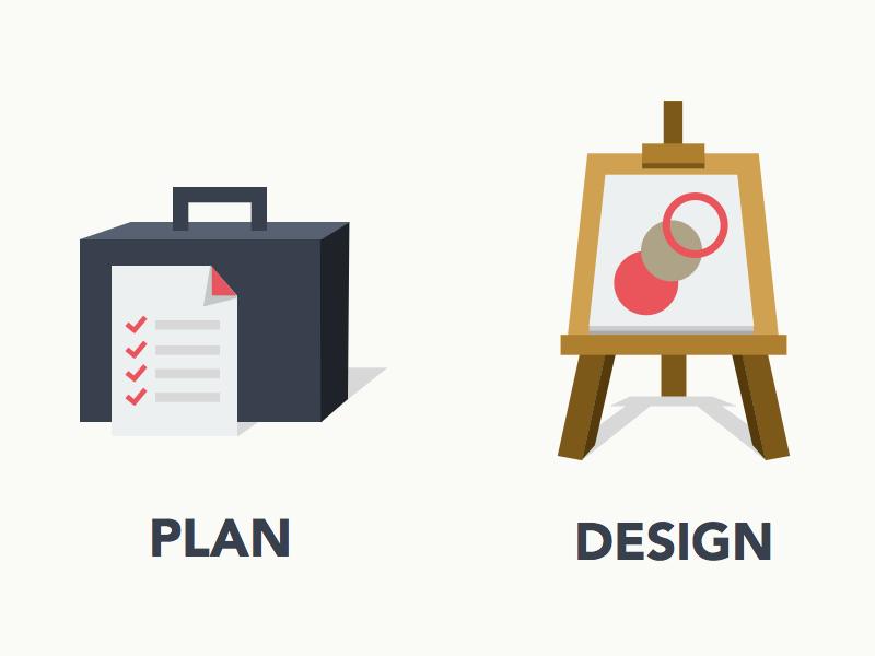 Plan - Design - Develop plan design develop icon flat ui suitcase easel building blocks sketchapp
