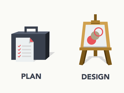 Plan - Design - Develop plan design develop icon flat ui suitcase easel building blocks sketchapp