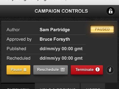 Campaign Control Panel campaign controls buttons