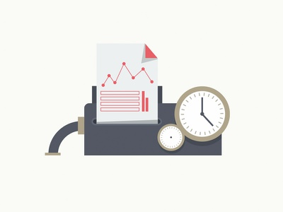 Measurement and reporting machine reporting machine flat design illustration