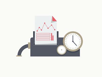 Measurement and reporting machine reporting machine flat design illustration
