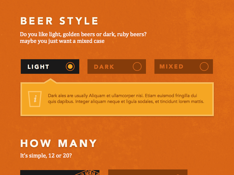 Brewery Gate - Beer Selector beer subscription selector radio buttons ui craft