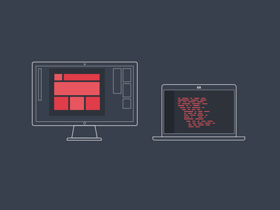Design + Code design code icon lines red desktop laptop