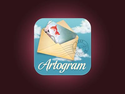 Artogram app ecard art retro vintage sky blue