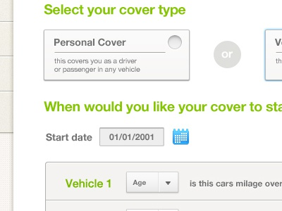 Vehicle Insurance Ui ui interface insurance company drop down radio button check box date selector