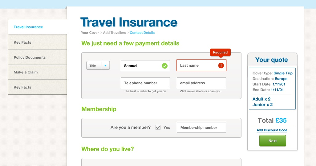 Travel insurance ui