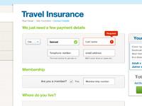 Travel insurance ui