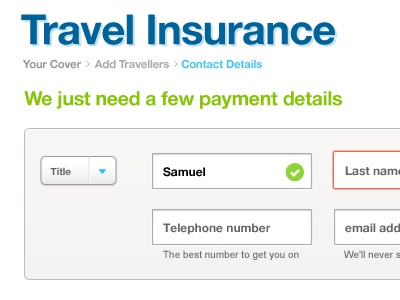 Travel Insurance Ui Small travel insurance ui user interface validation form drop down tick box