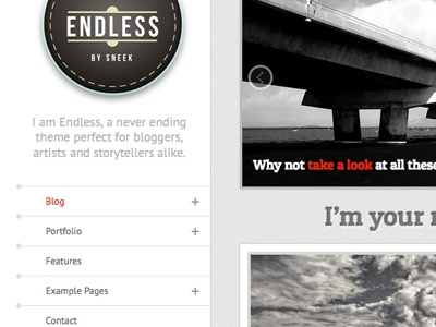 Endless  infinite scrolling blog wordpress theme retro badge