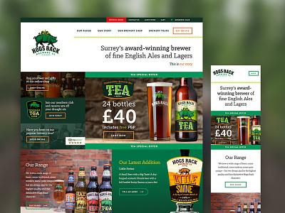 Hogs Back Brewery Website surrey brewer ale pints beer responsive homepage brewery