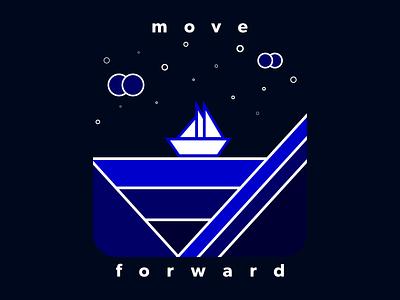 Move Forward creative design vector stars sail ocean blues flat design vector art