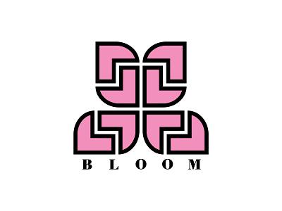 Bloom minimal logo thick lines brand identity branding flower pink brand logo wordmark logo floral