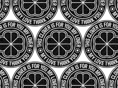 Clover Love black and white texture badges vectors type design type clover badge design badge