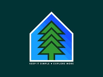 Keep it Simple graphic design minimal badge layout prints explore trees flat design logo