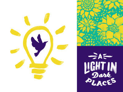 A Light in Dark Places watercolor identity typography theater plays suicide prevention hope bird catharsis logo illustration branding