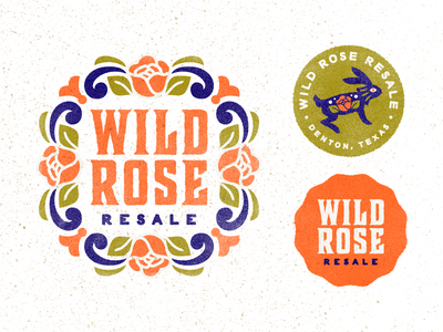 Wild Rose Resale Branding bold rose rabbit mark logo branding typography folk art western identity
