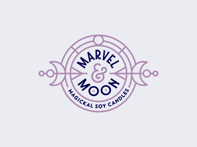 Marvel & Moon candles witchy typography linework identity logo