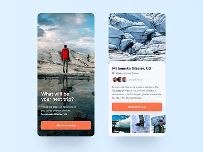 Travel Recommendations application climbing climb location vacations ux ui trip travel profile mobile iphone ios destination snow glaciar app adventure