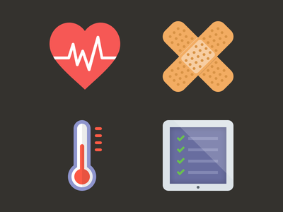 Health flat icons icons flat health medical medicine set glyph heart band aid bandaid thermometer checklist