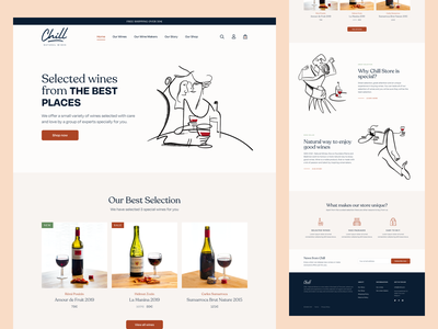 Landing page for Shopify wine store elegant ui ux shipping illustrations wine makers store ecommerce e-commerce shopify wine wine store wine shop wineshop web design website landing page landing wine selection