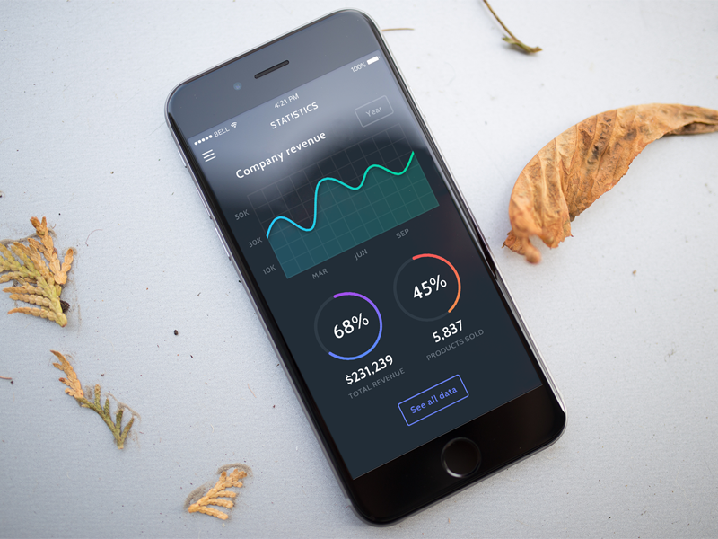 Data Stats stats statistics graph donut dashboard chart flat application dark app line data