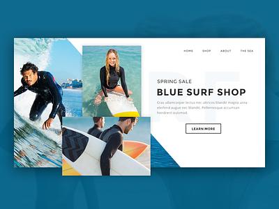 Surf Shop landing website homepage landing page concept surf wave waves surfboard wetsuit shop sea