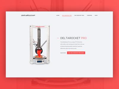 3D printer product page landing page web design ui design features filament print ecommerce shop product model 3d printer