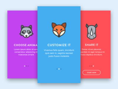 Onboarding screens mobile app application flat walkthrough fox rhino raccoon icon iphone steps onboarding