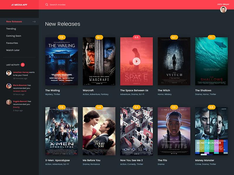 Movie Application UI homepage youtube landing movie media video play application dashboard app streaming movies