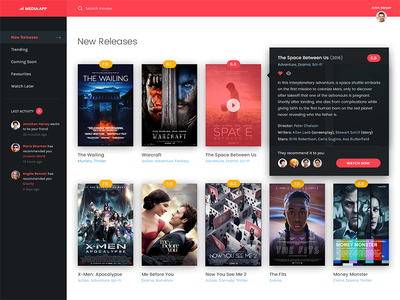 Movie Application UI Details youtube netflix video streaming movies movie media flat dashboard application app activity