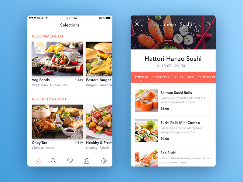 List of restaurants navigation toolbar ios restaurants restaurant list app iphone slider price menu mobile