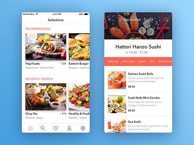 List of restaurants navigation toolbar ios restaurants restaurant list app iphone slider price menu mobile