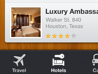Travel app iphone ios retina mobile app application interface ui ux travel hotel stars rating photo hotels rent car list