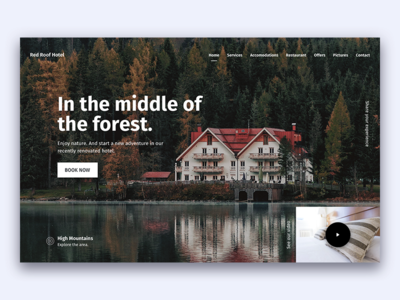 Hotel site exploration explore room nature travel homepage landing video landing page trip adventure forest hotel
