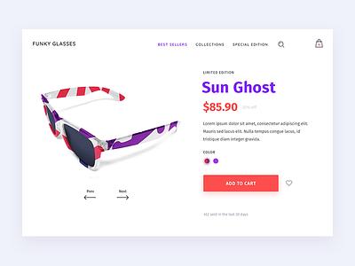 Sunglasses Product Page shopify ui shop product page e-commerce color cart ecommerce glasses sunglasses