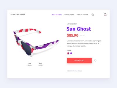 Sunglasses Product Page ui shop product page e-commerce color cart ecommerce glasses sunglasses